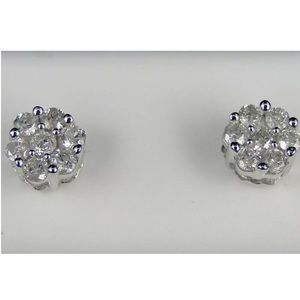 1LEFT🌟1/2 CT Diamond Cluster 10K Gold Over  Studs